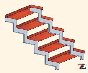 Лестница на двух металлических косоурах