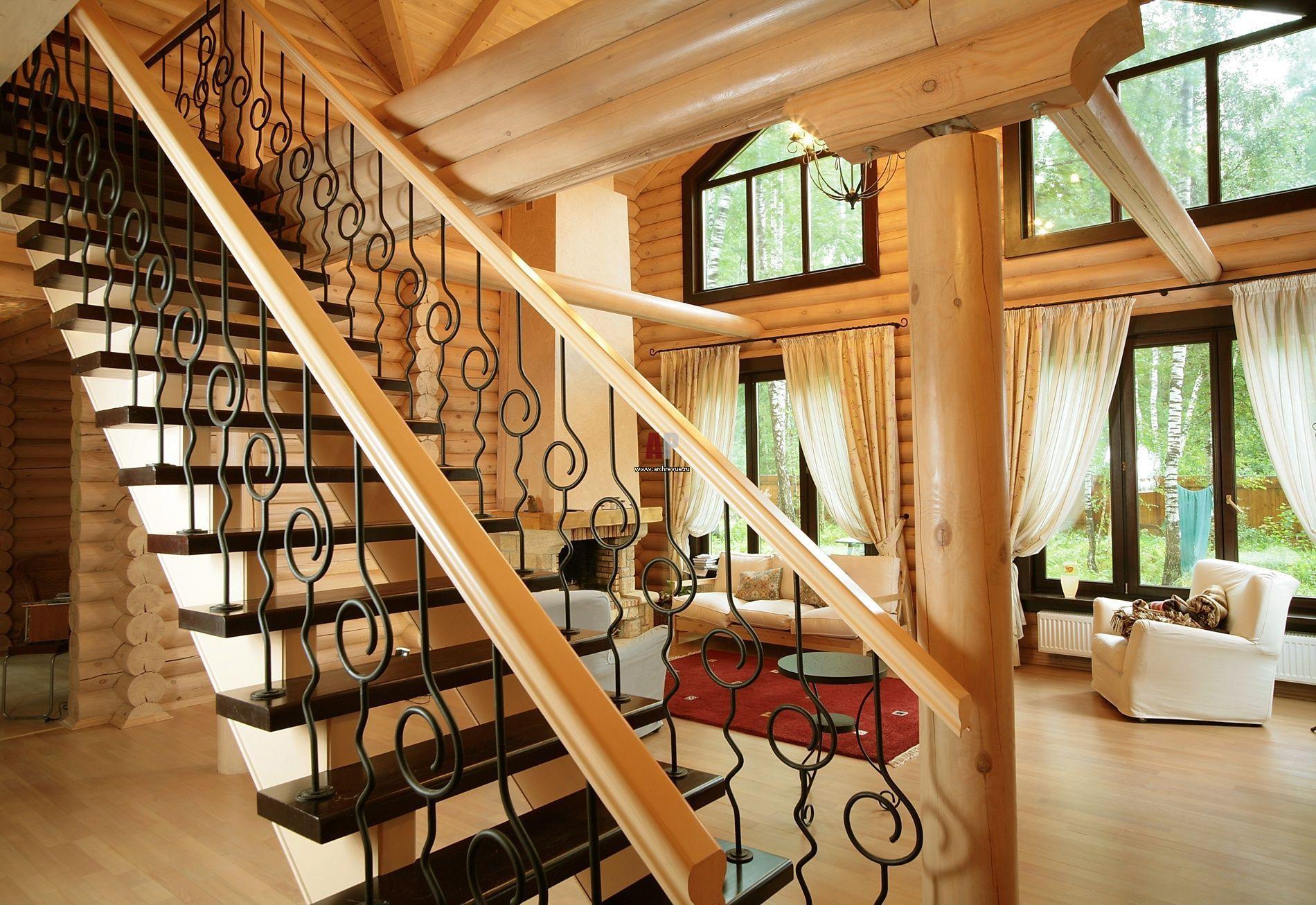 Лестница в интерьере в стиле кантри