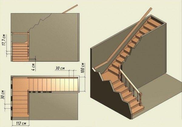Чертёж Г-образной лестницы