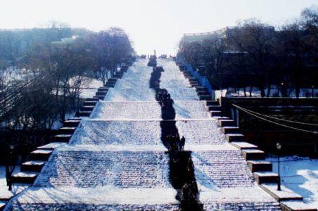 Потёмкинская лестница зимой