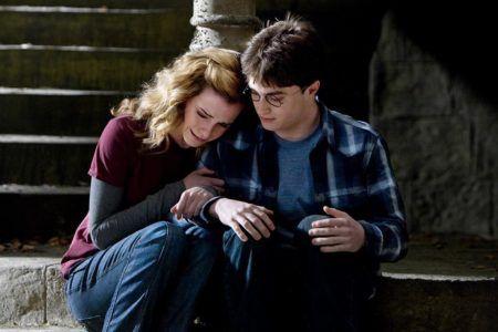 Гарри утешает Гермиону