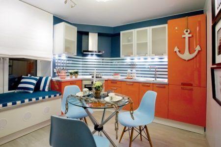 оранжевый и голубой в интерьере