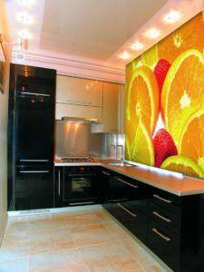 Фотообои с фруктами в дизайне кухни