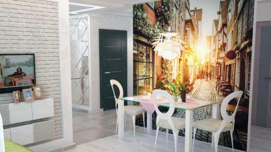 Фотообои с городским пейзажем в интерьере кухни