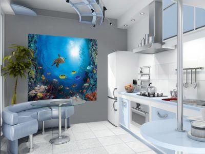 Фотообои с подводным миром в оформлении кухни