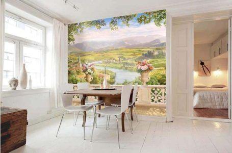 Фотообои с красивым видом в оформлении кухни