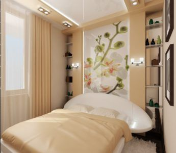 Встроенные светильники зрительно увеличивают пространство узкой комнаты