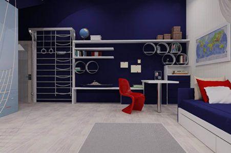 Интерьер детской комнаты со спортивным комплексом
