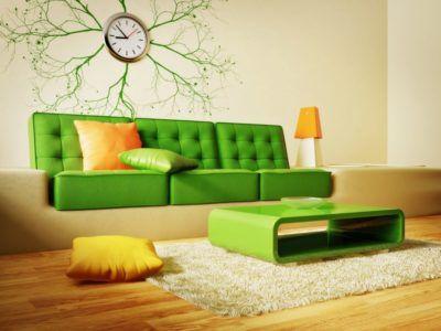 зеленый и оранжевый в интерьере