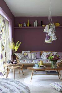 желтый и фиолетовый в интерьере