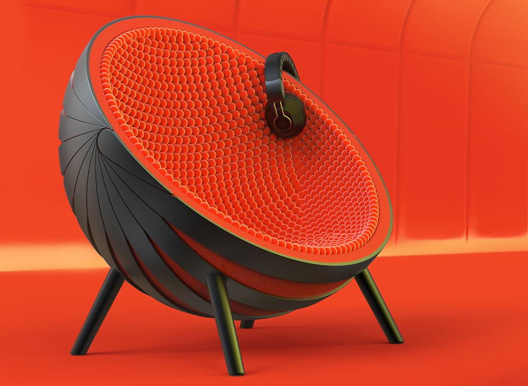 Кресло-кокон с наушниками