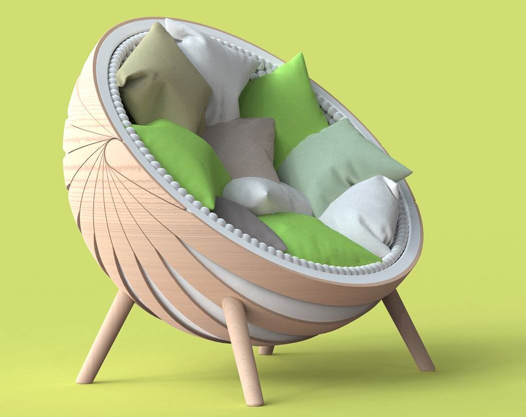 Кресло-кокон с подушками
