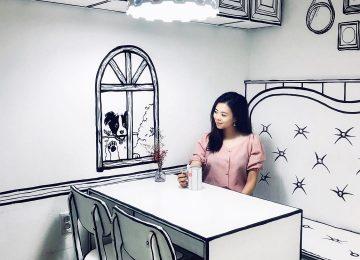 Нарисованное окно в 2D кафе