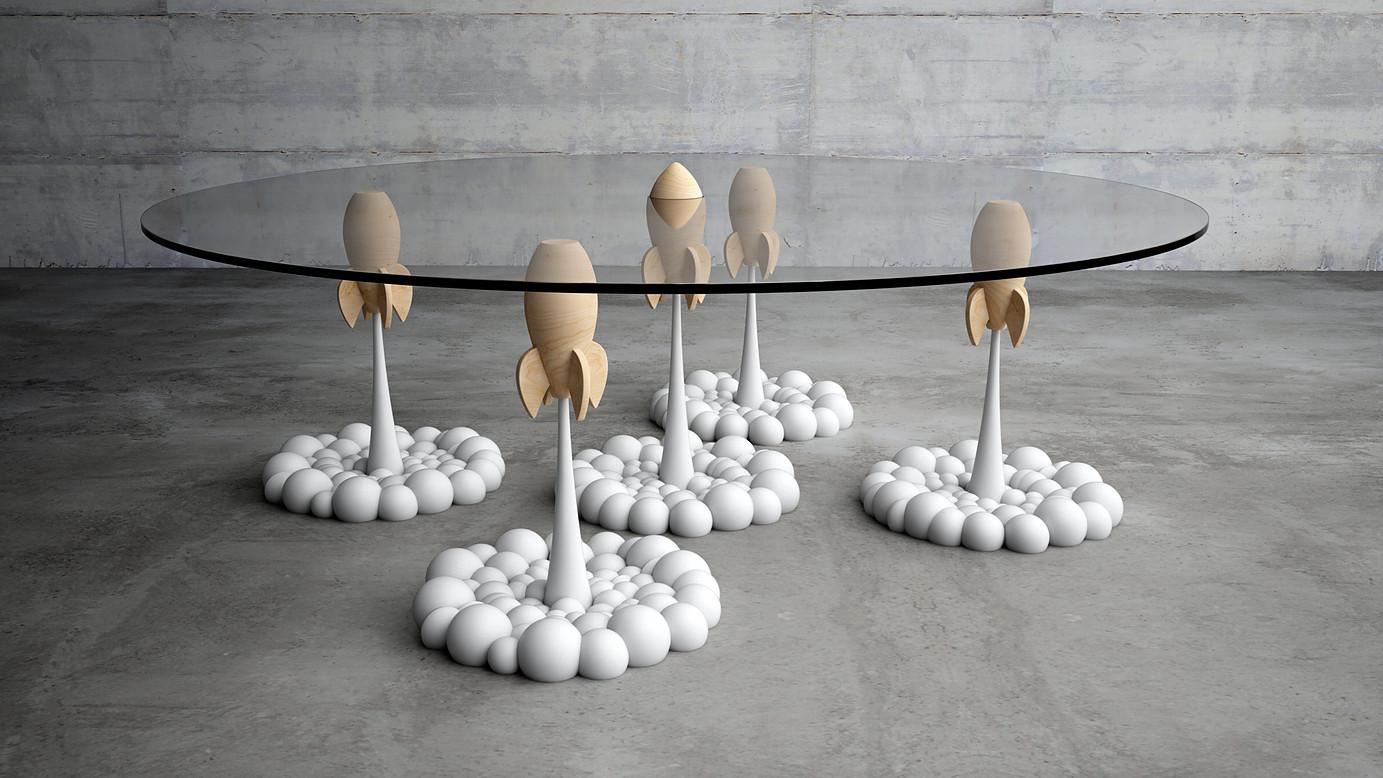 Столик от Mousarri с взлетающими ракетами