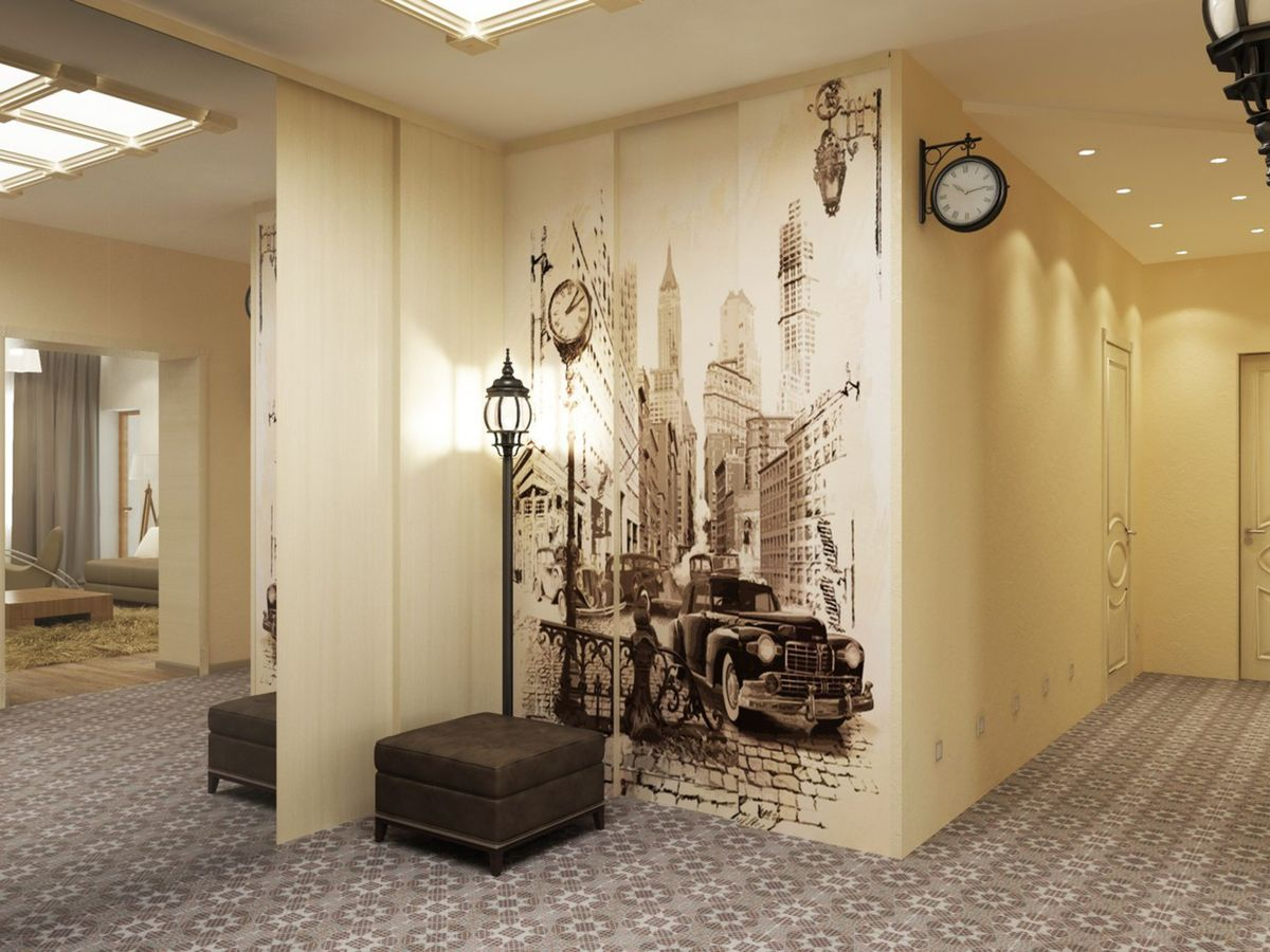 крепкий дизайн коридора с применением обоев и фотообоев больных становится неправильной