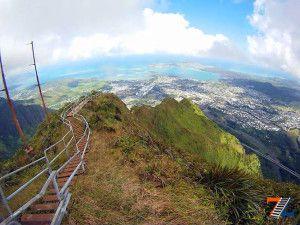 Вид на Гонолулу с вершины тропы Хайку