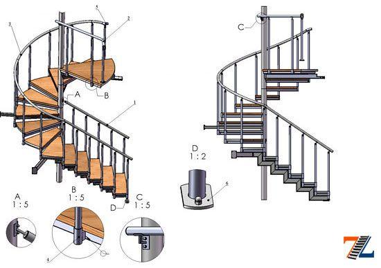 Металлическая винтовая лестница своими руками чертежи
