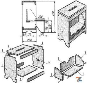 Чертеж для изготовления складной табуретки трансформера своими руками