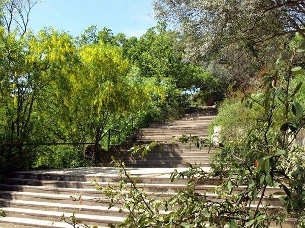Площадка между двумя лестничными подъёмами в саду