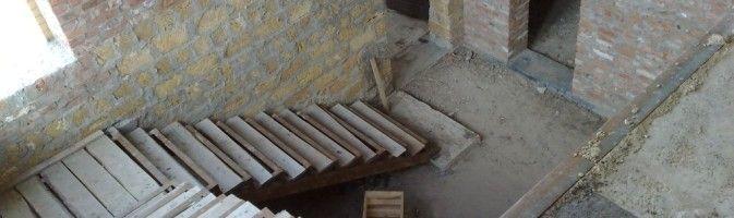 Межэтажный лестничный марш для коттеджа
