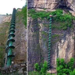 Небесная лестница у склона горы Тяйхань