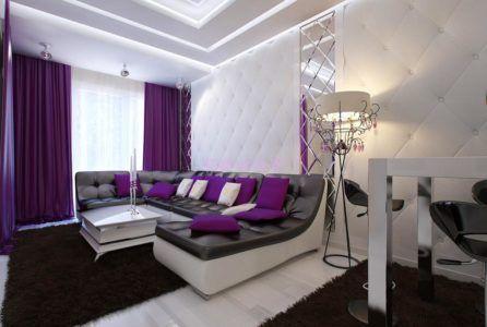 фиолетовый и серый в интерьере