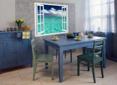 Фотообои создают иллюзию дополнительного окна на кухне