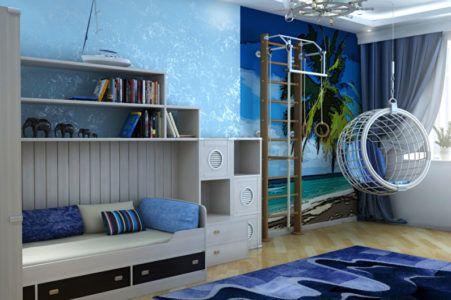 Спортивный комплекс в интерьере детской комнаты