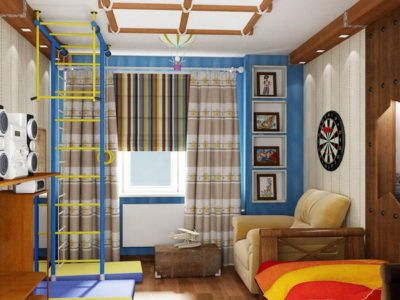 Дизайн детской комнаты со спортивным комплексом