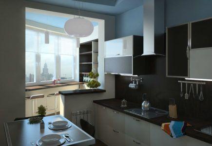 Объединение пространства лоджии и кухни