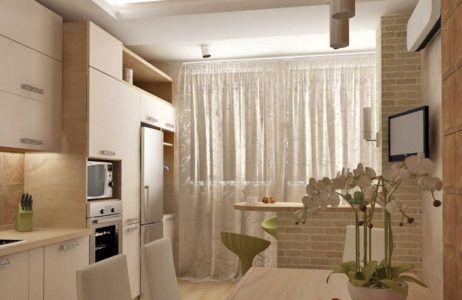 Кухня, совмещённая с лоджией