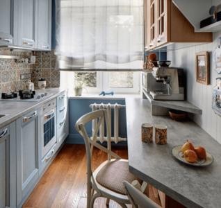 Параллельное размещение мебели на узкой кухне